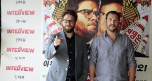 Seth Rogen and Evan Goldberg pose during a photocall for their latest film 'The Interview'. Photograph: Miquel Benitez/Getty Images