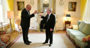 Jean-Pierre Thébault, France's ambassador to Ireland, toasts John Banville after awarding him the