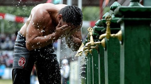 A wrestler cools off. Photograph: Erden Sahin/EPA