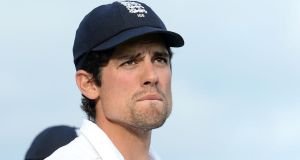 England's Alastair Cook watches the presentation after Sri Lanka won the test series.   Photograph: Martin Rickett/PA Wire.