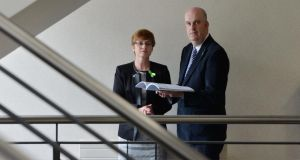 Mental Health Commission  chief executive Patricia Gilheaney and chairman  John Saunders at the publication of the commission's 2013 Annual Report. Photograph: Alan Betson/The Irish Times.