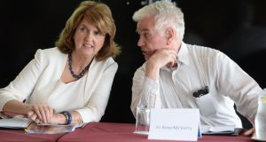 Fr Peter McVerry, SJ with Minister Joan Burton TD at the launch of Peter McVerry Trust Annual Report last year. Photograph: Dara Mac Dónaill