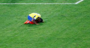 Ecuador's Michael Arroyo reacts after a missed chance  against France. Photograph: Ricardo Moraes/Reuters