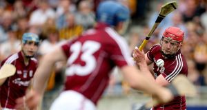 Galway's Joe Canning scores a late penalty during last Sunday's exciting Leinster senior hurling semi-final against Kilkenny at O'Connor Park. Photo: James Crombie/Inpho