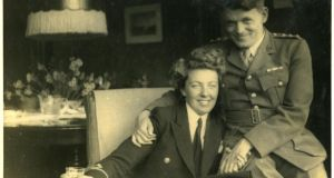 "Third Officer Elizabeth Chamberlain, Women's Royal Naval Service, with her future husband, Captain Andy Parsons: ""I didn't worry about getting killed or anything like that. All I wanted was to get over to England and join up. All my friends were going... Nearly all the men had joined up"""