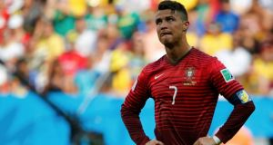 Portugal's Cristiano Ronaldo shows his disappointment after the victory over Ghana in Brasilia. Despite their win, Portugal have been eliminated from the tournament. Photo: Jorge Silva/Reuters