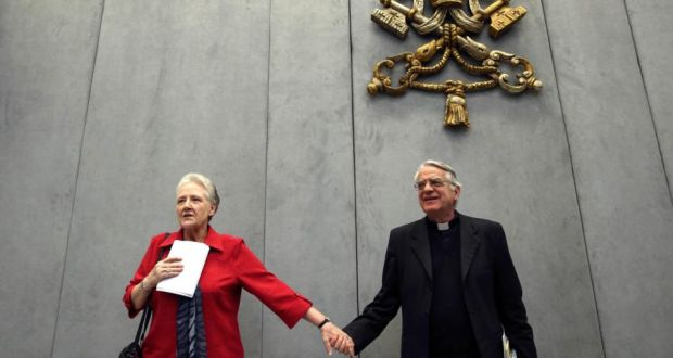 Marie Collins, member of the Pontifical Commission for the Protection of Minors, and Vatican spokesman  Fr Federico Lombardi,  leave at the end of the first briefing at the Holy See press office at the Vatican last month.    Photograph: Alessandro Bianchi/Reuters