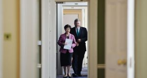 Dr Margaret Chan, director general of the World Health Organisation, and Minister for Health James  Reilly attending the first Healthy Ireland Council meeting in Dublin Castle.  Photograph: Alan Betson