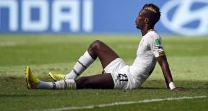 John Boye of Ghana scored an own goal against Portugal while no doubt  'doggedly focused on that suitcase filled with moolah waiting back in the hotel.'  Photograph: EPA