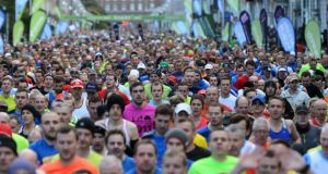 Enthusiastic runners of all shapes, sizes, ages and sexes setting out last year at the start of the Airtricity Dublin Marathon, in which more than 14,500 took part. Photograph: Cyril Byrne