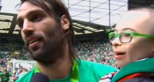 At the end of last season, Celtic striker Giorgos Samaras carried Jay Beatty around the Celtic Park pitch.