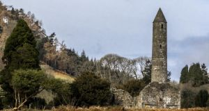 The tower at Glendalough, Co Wicklow: round towers' windows opened to the cardinal points, allowing the bell tones to ring out the canonical hours of the monastic day