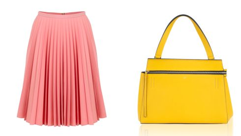 Pleated Skirt, €580, J.W. Anderson at Brown Thomas Edge Bag, €1,400, Celine at Brown Thomas