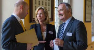 NUI Maynooth  president Prof Philip Nolan (left), Dr Kerry Murphy-Healey of  Babson College (centre) and Prof Bob Lingard of the  University of Queensland at NUIM's annual Education Forum on the theme of 'Transforming Curricula: Empowering Learners'. Photograph: Keith Arkins.