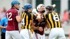 Kilkenny's Jackie Tyrrell and Andrew Smith of Galway square up last week at O'Connor Park. Smith and Iarla Tannian will have to ensure they focus primarily on their hurling in the replay if Galway are to prosper. Photo: James Crombie/Inpho