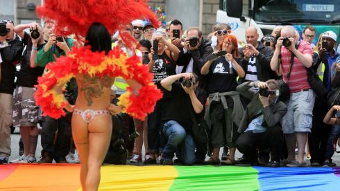 A cheeky pose for the cameras at Dublin Pride Parade. Photograph: Nick Bradshaw/The Irish Times