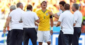 Brazil captain Thiago Silva   after the second round win over Chile at the  Mineirao Stadium. Photograph: Peter Powell / EPA
