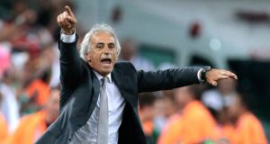 "Algeria's head coach Vahid Halilhodzic : ""We have not forgotten about . . . 1982."" Photograph: Ivan Sekretarev/AP."
