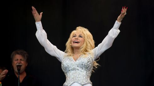 Dolly Parton brings glamour to Glastonbury on Sunday. Photograph: Matt Crossick/PA Wire