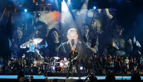 Metallica bring the house down on the Pyramid Stage. Photograph: Yui Mok/PA Wire