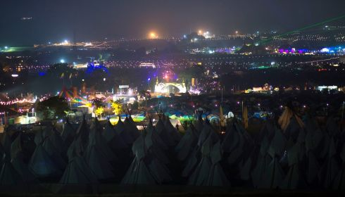 A new galaxy of possibilities: Stars come out at night at Glastonbury. Photograph: Matt Crossick/PA Wire