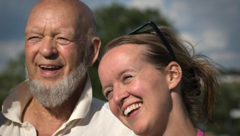 Glastonbury Festival founder Michael Eavis and his daughter Emily on the eve of the first day of the 2014 Glastonbury Festival. Photograph: Matt Cardy/Getty Images