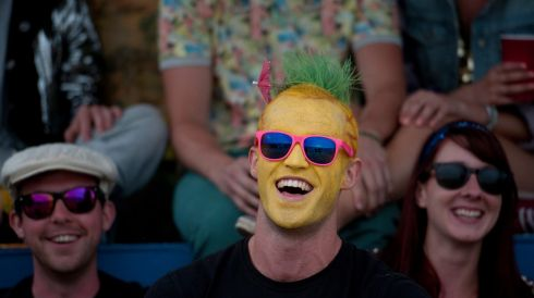 A memorable head-the-ball in the festival mix. Photograph: Will Oliver/EPA