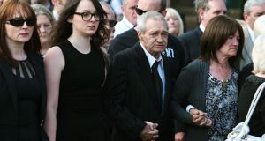 Birmingham Six member Paddy Hill and Gerry Conlon's sister Ann McKernan (right) follow the coffin of Gerry Conlon at his funeral at the weekend. Photograph: Brian Lawless/PA Wire