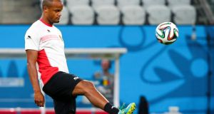 Belgian national soccer team captain Vincent Kompany during a training session. Photograph: Diego Azubel/Epa