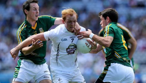 Kildare's Keith Cribbin with Donncha Tobin and Donal Keogan of Meath. Photograph: Donall Farmer/Inpho