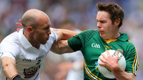 Kildare's Hugh McGrillen and Stephen Bray of Meath. Photograph: Photograph: Cathal Noonan/Inpho