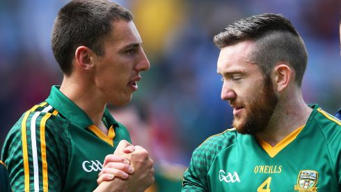 Damien Carroll and Mickey Burke of Meath after the game. Photograph: Cathal Noonan/Inpho