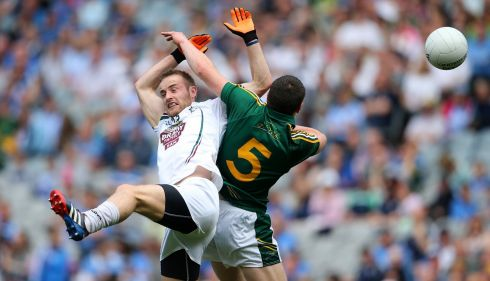 Kildare's Mikey Conway and Padraic Harnan of Meath. Photograph: Cathal Noonan/Inpho