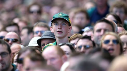A Meath supporter looks on during the match against Kildare. Photograph: Cathal Noonan/Inpho