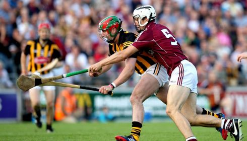 Kilkenny's Eoin Larkin and Daithi Burke of Galway in the Leinster Hurling Senior Championship Semi-Final Replay,  O'Connor Park, Tullamore, Co Offaly.  Photograph: James Crombie/Inpho