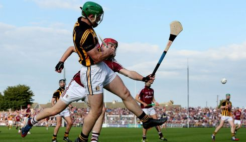 Kilkenny's Paul Murphy and Jonathan Glynn of Galway. Photograph: James Crombie/Inpho