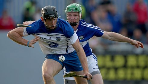Waterford's Kevin Moran with Tommy Fitzgerald of Laois in the Hurling All Ireland Senior Championship Round 1, Walsh Park, Waterford. Photograph: Donall Farmer/Inpho