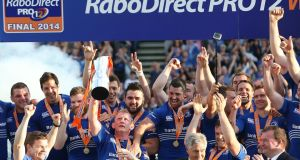 The 2014 RaboDirect PRO12 champions, Leinster. Photograph: Billy Stickland/Inpho