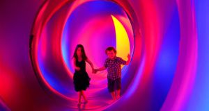 Tom and Aisling Brennan in the Amococo, a luminarium, at Spraoi, in Waterford