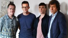 From left, Mikel Murfi, Enda Walsh , Cillian Murphy and Stephen Rea. Photograph: Cyril Byrne