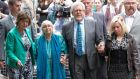 Entertainer Rolf Harris leaves with his niece Jenny, wife Alwen and daughter Bindi from Southwark Crown Court in London today after being found guilty of  12 charges of indecently assaulting young girls over a period of nearly 20 years. Photograph: Neil Hall/Reuters
