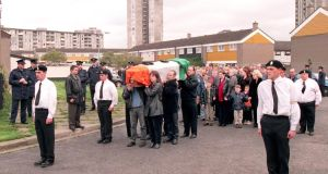The funeral of Mr Ronan Mac Lochlainn in Ballymun in 1998.