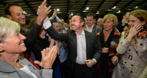 Fine Gael MEP Brian Hayes celebrates his election to the European Parliament in May with party colleagues and supporters at the RDS. He has said Ireland can still get a write-down on its debt at European level. Photograph: Dara Mac Dónaill/The Irish Times.