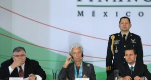 'In a single week recently, both the Bank England's Mark Carney and the IMF's Christine Lagarde warned that capitalism is eating itself, devouring the social capital essential for its own survival and fuelling inequality.'  Above, IMF managing director, Christine Lagarde with  the president of Mexico, Enrique Peña Nieto  and Mexican central bank chief Agustin Carstens, during a financial forum  in Mexico, in which she warned  about the high inequality level that prevails worldwide. Photograph: Mario Guzman/EPA
