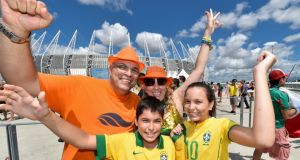 Fans arrive at Arena Castelao Stadium in Fortaleza for the Netherlands v Mexico game.