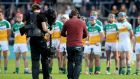 A Sky TV camera crew films the Offaly team before the championship clash against Kilkenny. Photograph: James Crombie/Inpho