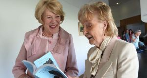 Sabina Higgins, wife of President Michael D Higgins, with Patricia Burke Brogan at the launch of her book Memoir with Grykes and Turloughs. Photograph: Joe O'Shaughnessy