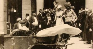 Archduke Franz Ferdinand and his wife Sophie leave Sarajevo City Hall on June 28th, 1914, the day of their assassination. Four days later the Turin correspondent of Italian daily La Stampa referred to fears in Serbia that Germany could attack their country in response to the murders. Photograph: JU Sarajevo Museum)/handout via Reuters