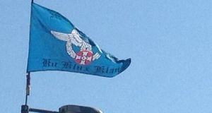 KKK flag pictured in east Belfast. Photograph: Smc/Twitter