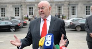 Minister for Education Ruairí Quinn announcing he will resign from Cabinet in next week's reshuffle.  Photograph; Dara Mac Dónaill